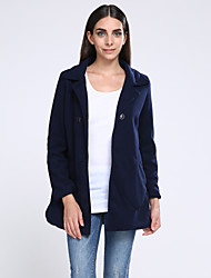 Women's Solid  Coat  Casual  Plus Sizes Long Sleeve Fleece
