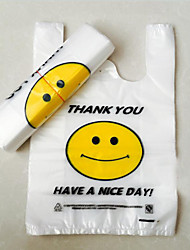 Transparent Plastic Bags Vest Pocket Convenient Bags Supermarket Smiling Face  Thicker Customized Two Packs A Box