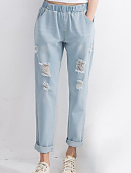 Women's Solid Blue Jeans / Loose Pants,Sexy / Vintage / Simple / Street chic / Active / Sophisticated