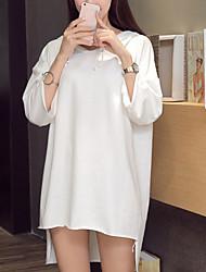 Damen Solide Einfach Lässig/Alltäglich T-shirt,Mit Kapuze Frühling / Sommer Kurzarm Blau / Weiß Baumwolle Mittel