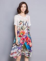 Women's Plus Size Sophisticated Loose Dress,Floral Round Neck Knee-length Short Sleeve Beige Silk Summer