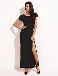 Robe Femme Soirée / Cocktail Grandes TaillesCouleur Pleine Col Ras du Cou Maxi Sans Manches Rouge Noir Polyester Nylon AutresToutes les