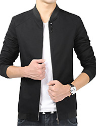 Men's Long Sleeve Casual Jacket,Cotton / Polyester Solid Black / Blue / Red / Yellow / Beige