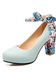 Women's Shoes PU Summer/ Round Toe Heels Office & Career / Casual Chunky Heel Bowknot Black/Blue/Pink/White/Beige
