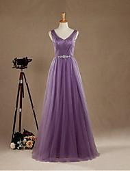 Formal Evening Dress Sheath / Column V-neck Floor-length Satin / Tulle with Beading