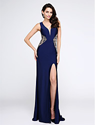 2017 TS Couture® Prom Formal Evening Dress Sheath / Column V-neck Sweep / Brush Train Jersey with Crystal Detailing