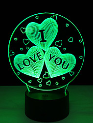 Acrylic 7 Color Changing Usb Charge 3D Heart I Love You Led Night Light With 3D Luminous Decor Table Lamp Nightlight