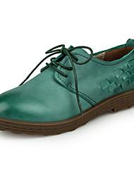 Damen-Flache Schuhe-Lässig-Leder-Flacher AbsatzBraun Grün