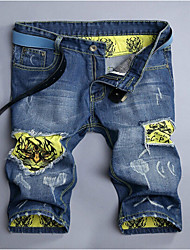 Men's Print Casual JeansCotton Blue