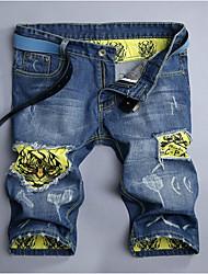 Men's Print Casual JeansCotton Blue