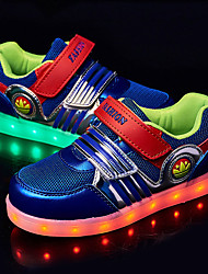 Boy's Sneakers Spring Fall Comfort Light Up Shoes Tulle Outdoor Flat Heel Magic Tape LED Black Blue