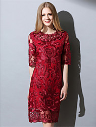 AOFULI Women Vintage Elegance Sexy See Through Embroidered Hollow Lace Slim Dress