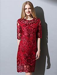 las mujeres aofuli elegancia Vintage atractivo ver a través vestido delgado hueco del cordón bordado
