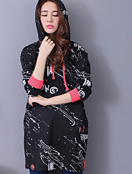 Women's Casual/Daily Street chic Regular Hoodies,Letter Black Hooded Long Sleeve Cotton Fall Thick