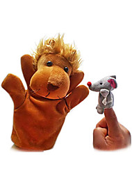 2PCS The Lion and The Mouse Finger Puppets Kids Talk Prop