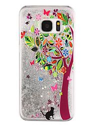 Trees Pattern Flowing Quicksand Liquid Glitter Plastic PC For Samsung Galaxy S7 edge Galaxy S7