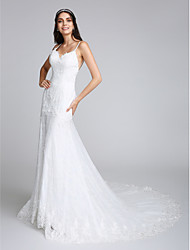 2017 Lanting Bride® Trumpet / Mermaid Wedding Dress Chapel Train Spaghetti Straps Lace with Appliques / Lace