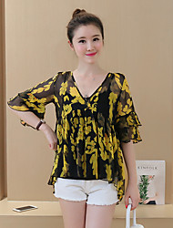 Women's Going out Vintage Summer Blouse,Print V Neck ½ Length Sleeve Yellow Cotton / Acrylic Thin