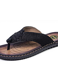 Men's Clogs & Mules Spring / Summer / Fall Flip Flops Nappa Leather Outdoor / Casual Flat Heel Plaid Black Water Shoes