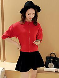 Damen Standard Strickjacke-Lässig/Alltäglich Einfach Solide Rot Schwarz Rundhalsausschnitt ¾-Arm Nylon Winter Mittel Dehnbar
