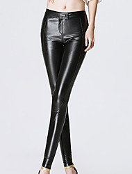 Women Solid Color Legging,PU