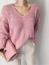 Damen Standard Pullover-Ausgehen / Lässig/Alltäglich Einfach / Niedlich Solide Rosa / Grau / Gelb V-Ausschnitt Langarm AcrylFrühling /