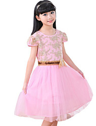 Girl's Going out Embroidered Dress,Cotton Summer Pink / Beige