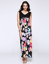 Women's Deep V Neck Print Patchwork Maxi Plus Size Dress