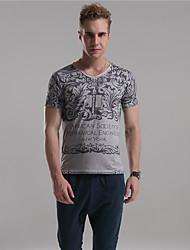 M. D® Hommes Col en V Manche Courtes T-shirt Bleu / Marron / Gris clair-3