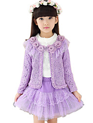 Girl's Cotton Spring/Autumn Lace Flower Coat And Long Sleeve Shirt And Lace Skirt Clothing Set Three-piece Set