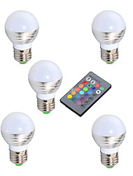 3W E14 / GU10 / E26/E27 LED Globe Bulbs A50 1 High Power LED 200 lm RGB Infrared Sensor / Dimmable / Remote-Controlled / Decorative V5