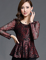 Spring/Fall Going out/Casual/Daily Women's Tops Round Neck Long Sleeve Lace Slim Blouse Shirt