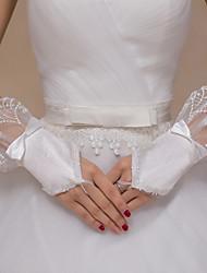 Handgelenk-Länge Ohne Finger Handschuh Spitze Tüll Brauthandschuhe Party / Abendhandschuhe Frühling Sommer Herbst Winter Schleife Spitze