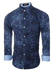 Men's Print Casual / Formal Shirt,Cotton Long Sleeve Blue / Gray