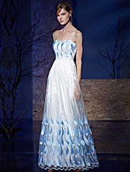 A-Line Strapless Floor Length Organza Charmeuse Prom Formal Evening Dress with Beading Embroidery
