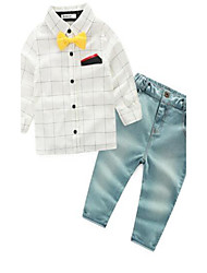 Boy's Casual/Daily Plaid Suit & Blazer / Clothing SetCotton Spring / Fall White