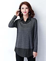 Mulheres Camisa Trabalho / Tamanhos Grandes Simples Outono,Listrado Cinza Raiom / Poliéster Colarinho de Camisa Manga Longa Média