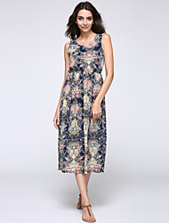 Women's Plus Size Flower Print Beach Chiffon Maxi Dress