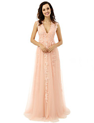 Prom Formal Evening Dress - Elegant A-line V-neck Floor-length Tulle with Appliques