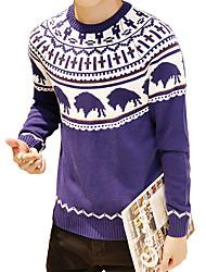 Herren Pullover-Druck Freizeit Baumwolle Lang Blau