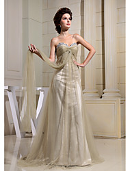 Formal Evening Dress Sheath / Column Sweetheart Court Train Tulle with Beading