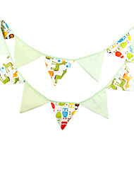 3.2m 12 Flags Green Horse Banner Pennant  cotton Bunting Banner Booth Props Photobooth Birthday Wedding Party Decoration