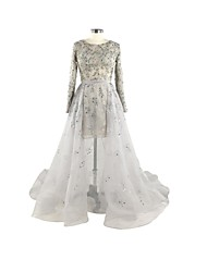 Formal Evening Dress A-line Jewel Court Train Lace / Organza with Appliques / Beading