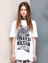 Herz Soul® Damen Rundhalsausschnitt Kurze Ärmel T-Shirt Weiß-26AD21813