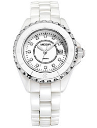 MEGIR® Women's White Ceremic Band White Case 30M Water Resistant Dress Watch(Include Package) for Wedding Party