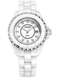 Femme Montre Tendance / Bracelet Montre Quartz Calendrier / / Céramique Bande Pour tous les jours Blanc Marque