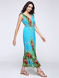Women's Beach Loose Dress,Floral Maxi Sleeveless Blue / Orange Cotton Summer