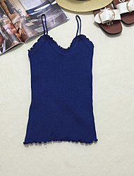 Women's Casual/Daily Cute Summer Tank Top,Solid V Neck Sleeveless Blue / White / Black Cotton Thin