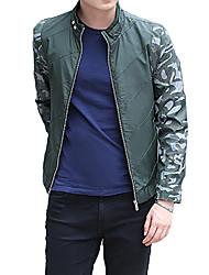 Men's Long Sleeve Casual / Work / Formal / Sport / Plus Sizes Jacket,Cotton Patchwork Black / Green / Orange