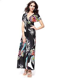 Women's Plus Size Sexy Sheath Dress,Print Deep V Maxi Short Sleeve Black Cotton / Polyester Summer